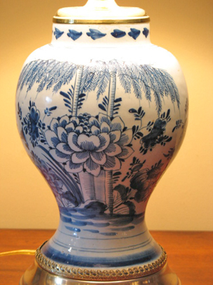 Dutch Delft Baluster Vase Converted To A Lamp Dubey S