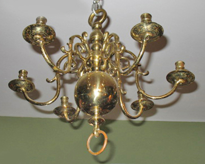 Six light dutch brass chandelier dubeys art antiques six light dutch brass chandelier aloadofball Choice Image