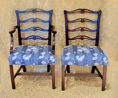 Set of 4 chippendale ladderback chairs dubey s art amp antiques