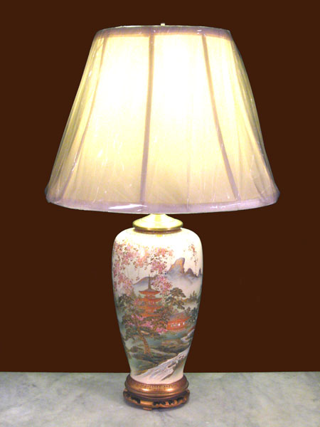 Pair Of Japanese Satsuma Vases Converted To Lamps Dubey