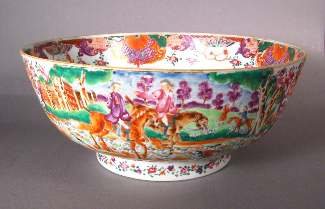 Chinese Export Mandarin Palette Punch Bowl With Hunting Scenes on European Antiques Furniture