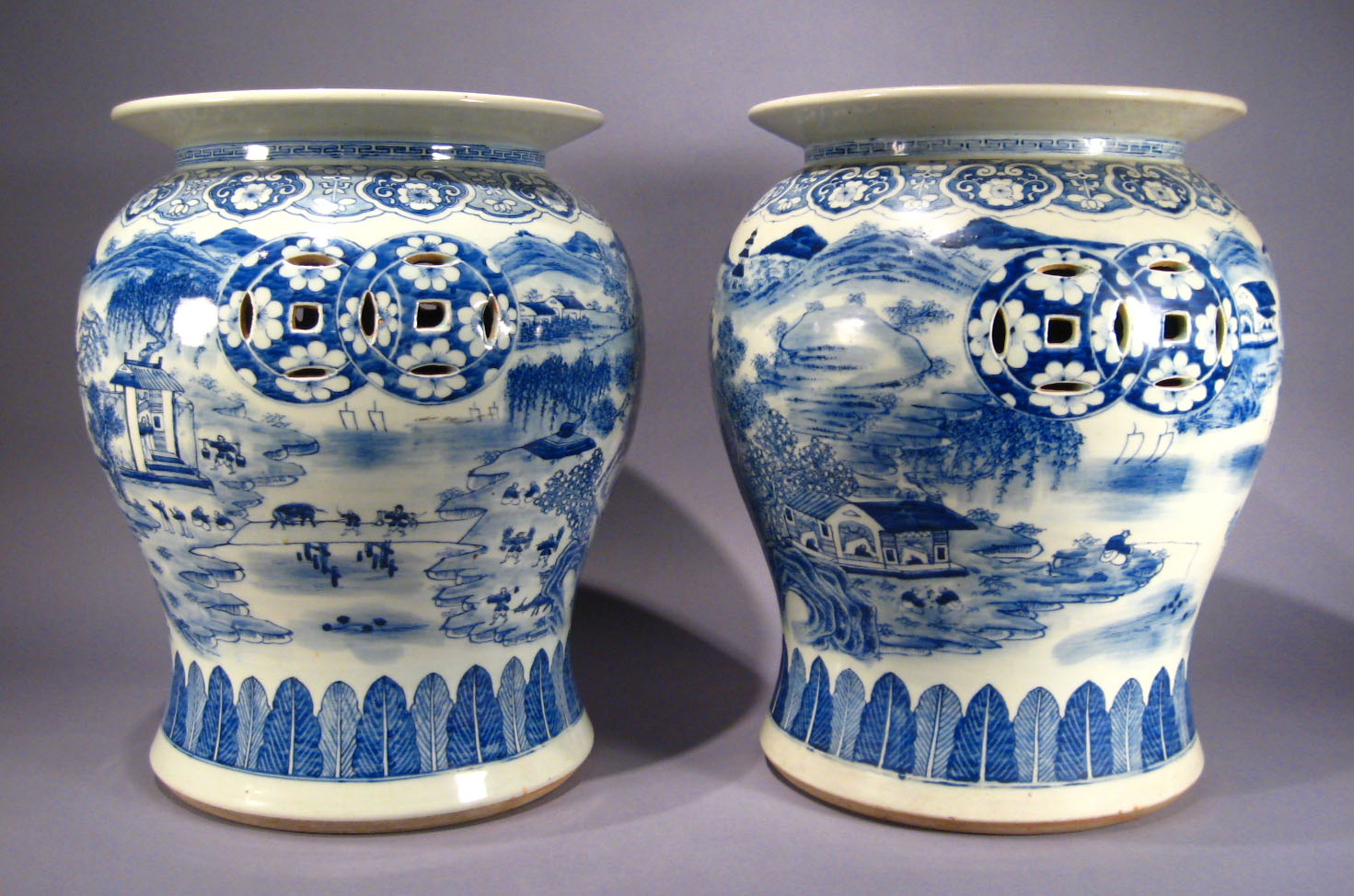 Pair Of Chinese Export Porcelain Blue And White Garden Seats. Pair Of  Chinese Export Porcelain Blue And White Garden Seats ...