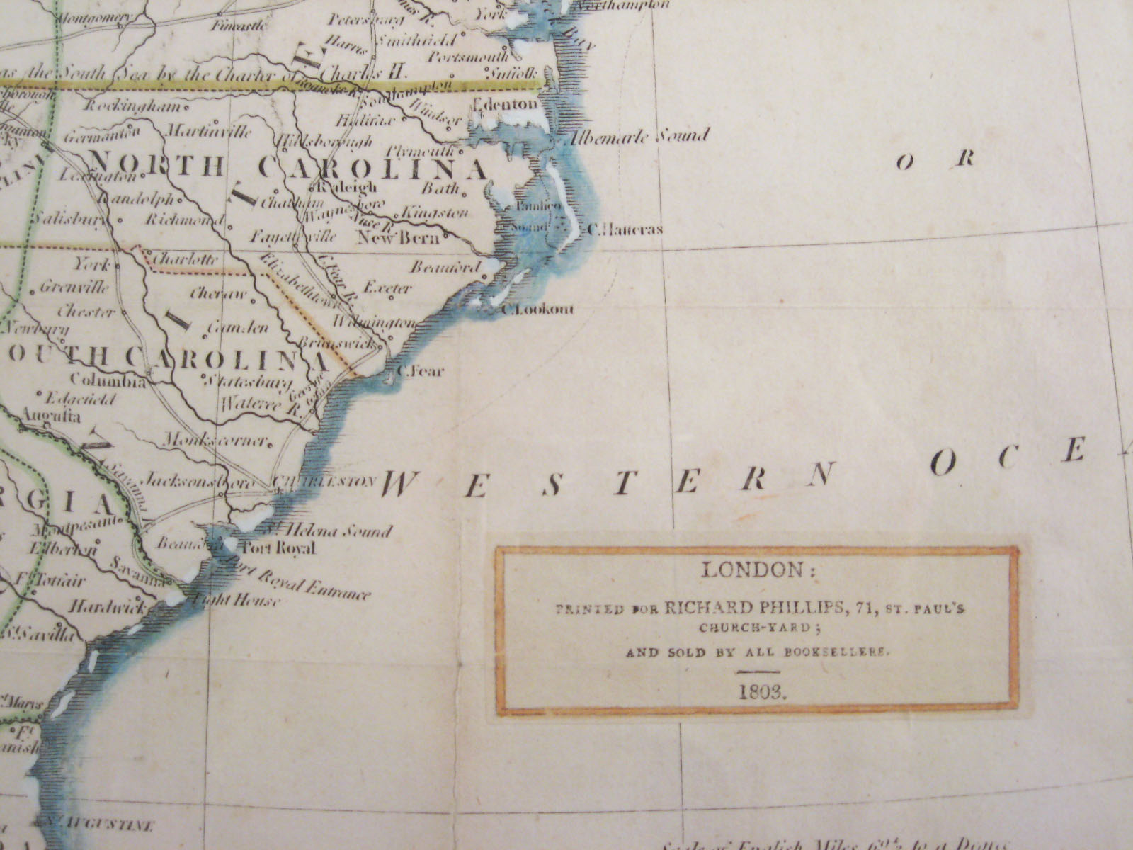Map Of Eastern United States By Richard Phillips London C - 1803 us map