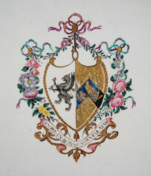 Armorial arms of Morgan platter detail 2
