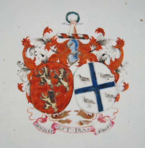 Armorial platter arms of campbell wedding 1760 detail
