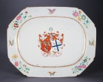Armorial platter arms of campbell wedding 1760