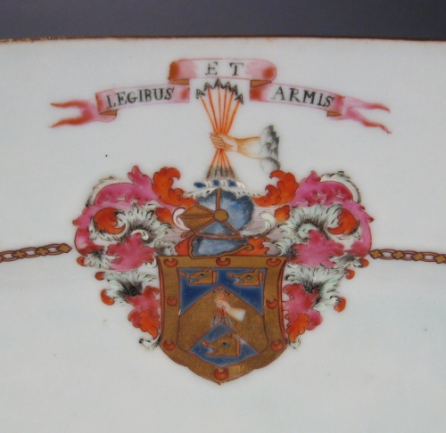 Armorial platter arms of McKay 1760 detail