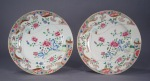 Famille rose pair plates 11 inch 1780