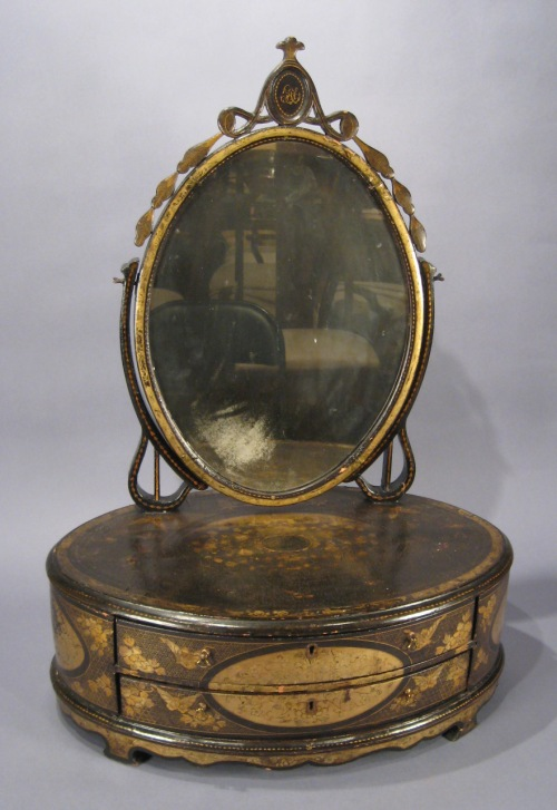 Chinese lacquer shaving mirror