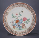 Famille rose reticulated plate 1780 10 inch