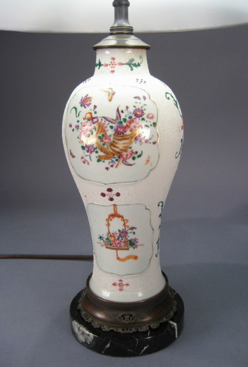 Pair chicken skin famille rose lamps 1780 detail