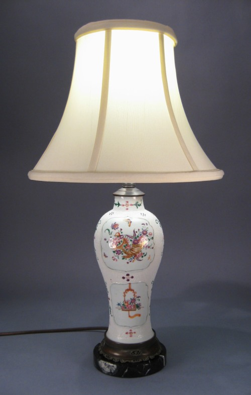 Pair chicken skin famille rose lamps 1780