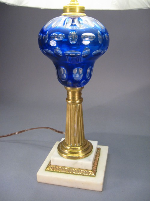 Pair cobalt blue cut to clear lamps detail