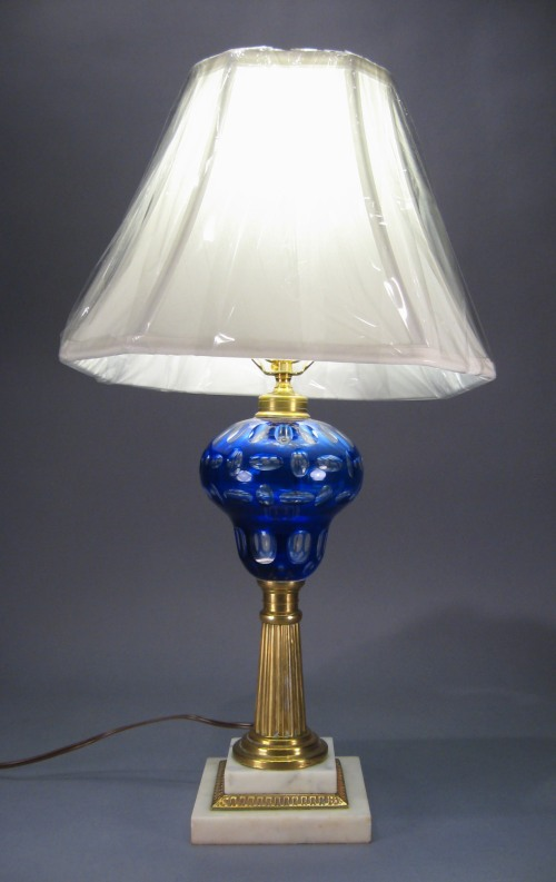 Pair cobalt blue cut to clear lamps