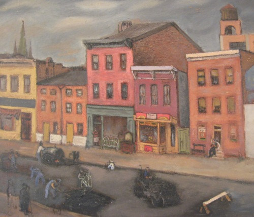 Baltimore neighborhood painting on board detail