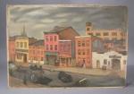 Baltimore neighborhood painting on board