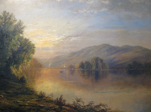 Edmund Darch Lewis large Susquehanna oil on canvas detail