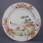 Famille rose pair plates European subject pattern 1735 detail