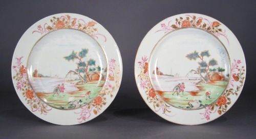 Famille rose pair plates European subject pattern 1735