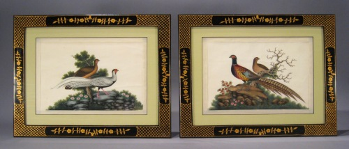 Chinese gouache pair birds 1840