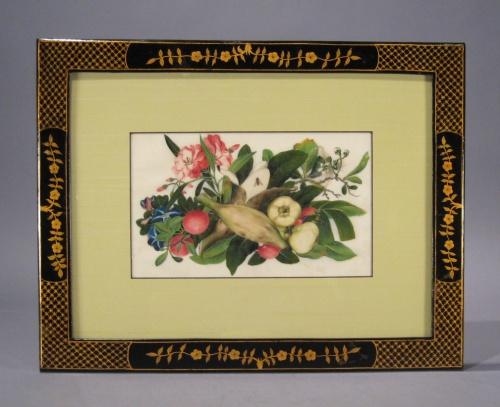 Chinese gouache pair floral1840 detail 1