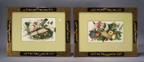 Chinese gouache pair floral1840