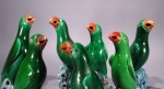 Chinese green glazed parrot - group of 7 singles detail