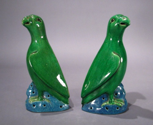 Chinese green glazed parrot - matched pair
