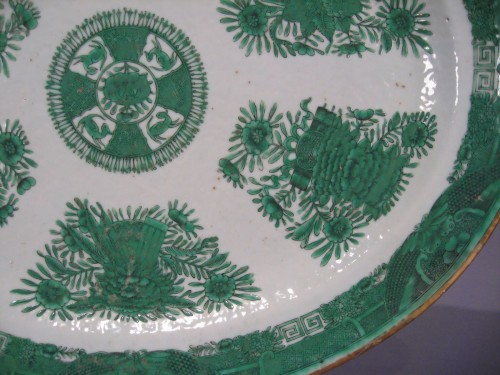 Fitzhugh large green platter detail