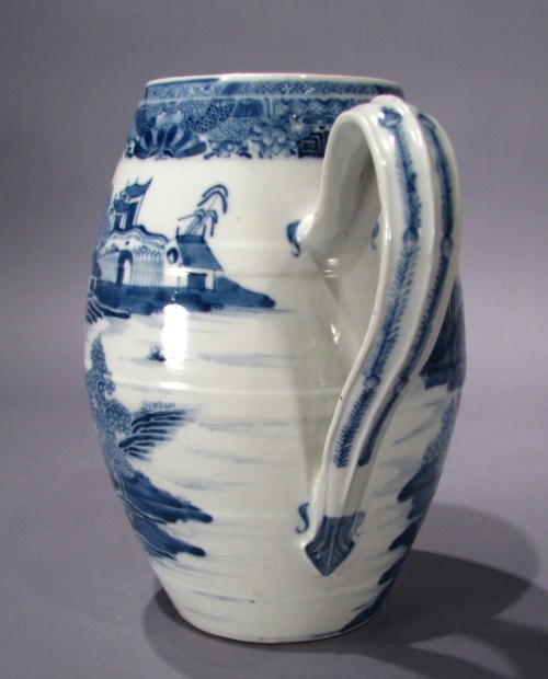 Mason Ironstone blue and white cider jug 1790 detail