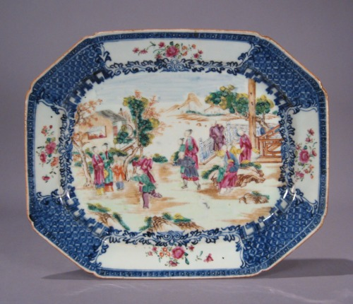 Famille rose blue white platter pair larger