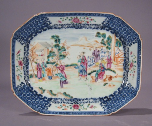 Famille rose blue white platter pair smaller