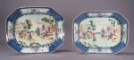 Famille rose blue white platter pair
