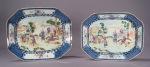 Famille rose blue white platter pair