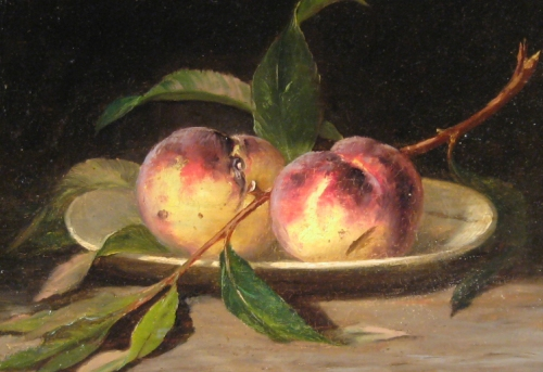 Peale still life peaches oil on canvas detail