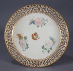 Famille rose large reticulated saucer 1785