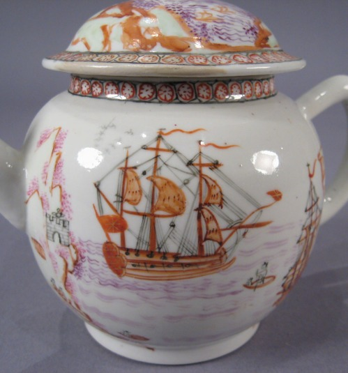 Famille rose teapot with English ships 1760 detail