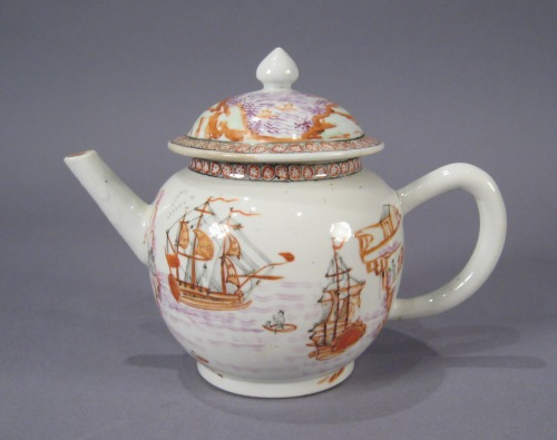Famille rose teapot with English ships 1760