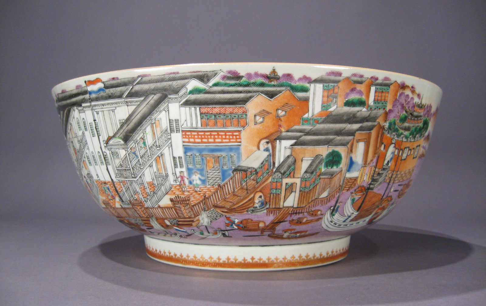 Rare And Important Chinese Export Hong Punch Bowl C 1785