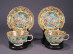 Famille jun pair of teacups and saucers