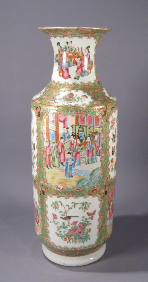 Rose mandarin large rouleau vase
