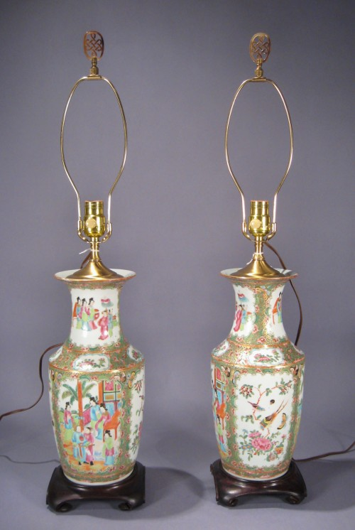 Rose medallion lamps pair