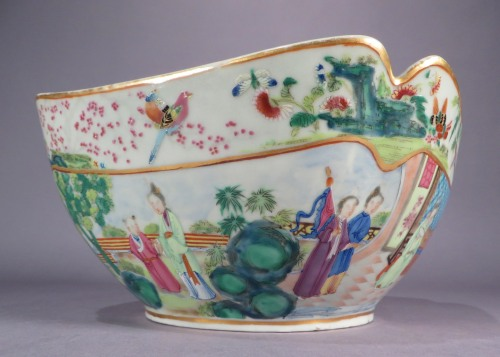 Rose mandarin cut corner bowl 1830 detail
