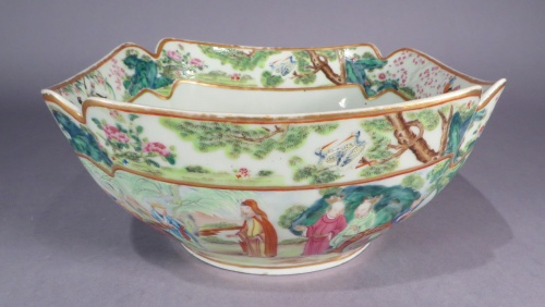 Rose mandarin cut corner bowl 1830