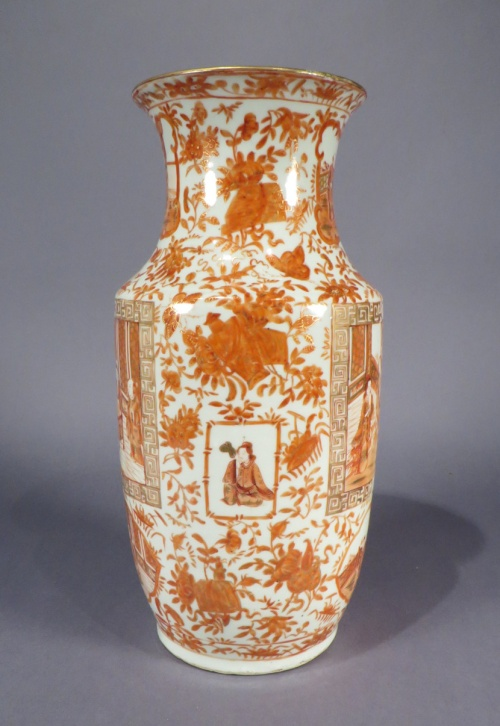 Orange mandarin vases pair detail
