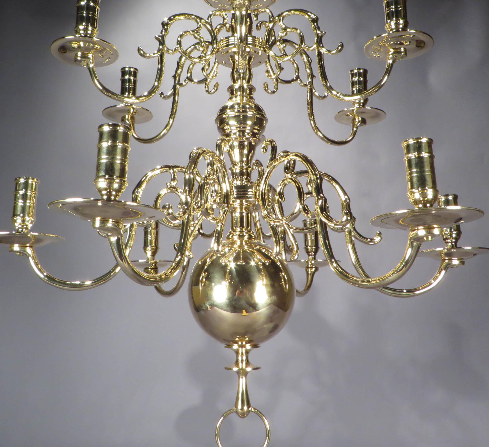 Dutch brass 12 light chandelier dubeys art antiques brass chandelier detail 1 aloadofball Gallery