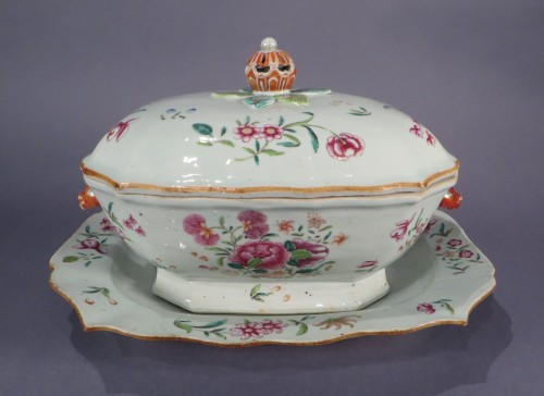 Famille rose tureen and underplate