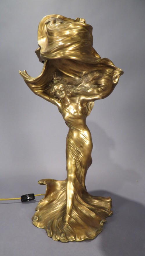 Loie Fuller The Dancer Gilt Bronze Table Lamp By Raoul