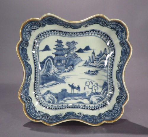 Blue and white shaped dishes 1780 detail 1