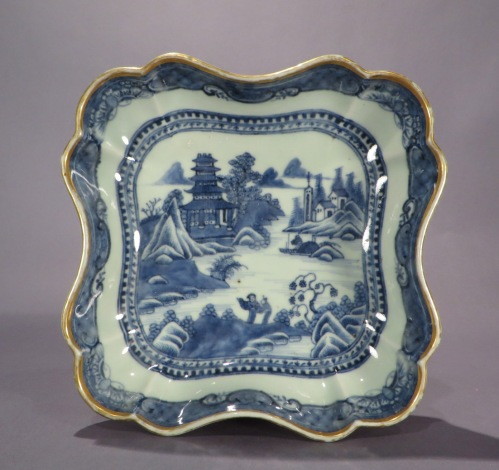 Blue and white shaped dishes 1780 detail 2